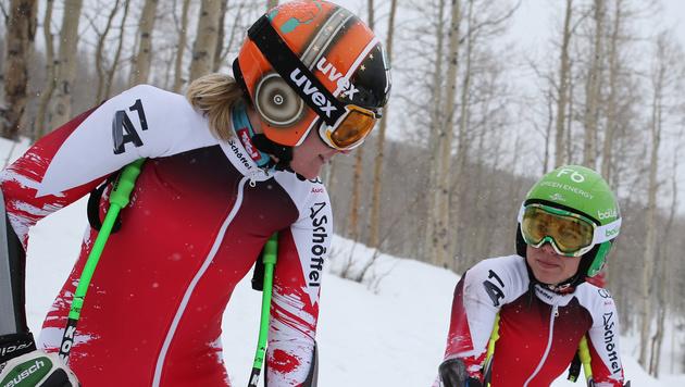 Nicole Hosp und Nicole Schmidhofer im Training (Bild: GEPA)