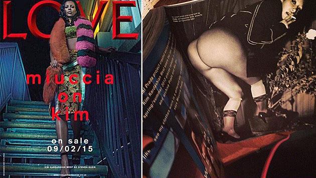 Kim Kardashian spielt mal wieder Nackerpatzl (Bild: Love, twitter.com/kardashianpedia)
