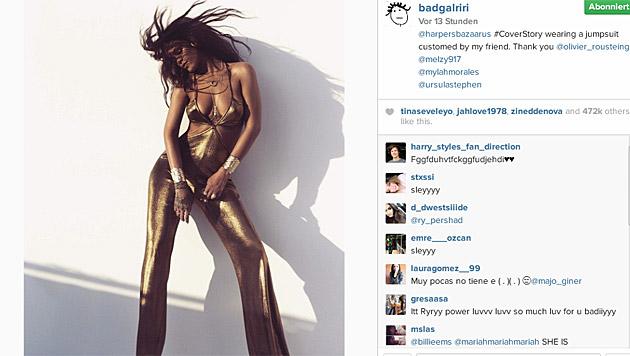 Rihanna beim Shooting für den 'Harper's Bazaar'. (Bild: instagram.com/badgalriri)