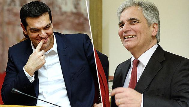 Tsipras auf Wien-Besuch: Am Montag bei Faymann (Bild: AP, APA/HERBERT NEUBAUER)