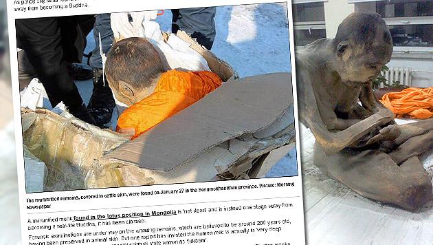 Mumifizierter Mönch gibt Forschern Rätsel auf (Bild: Screenshots SiberianTimes.com, krone.at-Grafik)