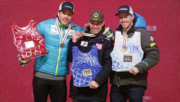Siegerbild: Hirscher mit Jansrud (li.) und Ligety (Bild: APA/EPA/GEORGE FREY)