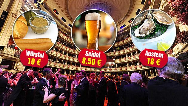 Das kosten Würstel, Seidel & mehr am Opernball (Bild: APA/HERBERT PFARRHOFER, thinkstockphotos.de, krone.at-Grafik)