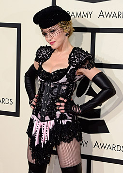 Auch obenrum hatte Madonnas Outfit einiges zu bieten. (Bild: Jordan Strauss/Invision/AP)