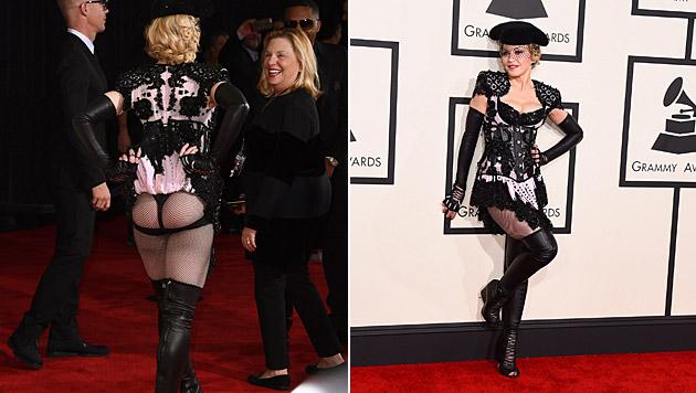 Da schau her! Madonna streckte bei den Grammys ihren Popo in die Kameras. (Bild: Jordan Strauss/Invision/AP)