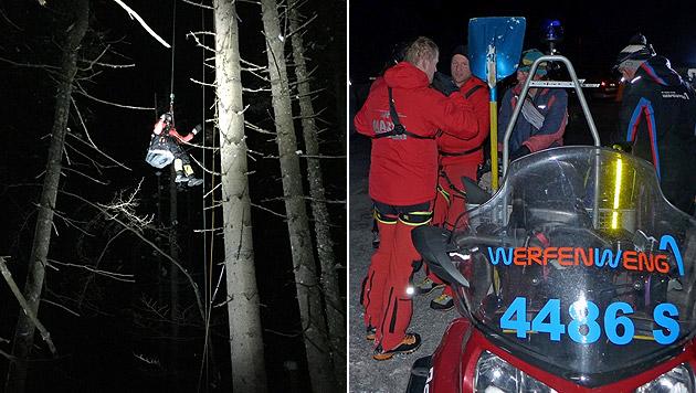 Hilflos baumelte der Mann in 25 Metern Höhe am Baum. Die Retter holten ihn auf den Boden zurück. (Bild: Bergrettung Werfen/G. Pichler, Bergrettung Werfen/W. Aschauer)