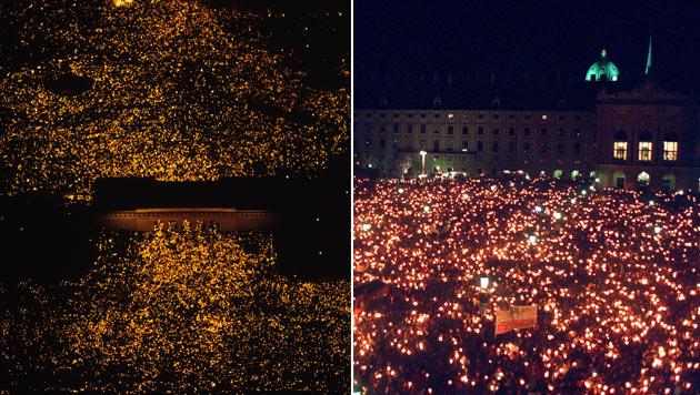 """250.000 bis 300.000 Österreicher nahmen 1993 am """"Lichtermeer"""" auf dem Wiener Heldenplatz teil. (Bild: APA/Kurt Keinrath, Ulrich Schnarr)"""