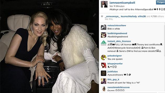 Kathrin Glock und Naomi Campbell auf dem Weg zum Opernball (Bild: instagram.com/iamnaomicampbell)