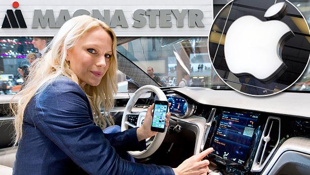 Apple ist in der Autobranche bereits mit der Software CarPlay vertreten. (Bild: APA/EPA/PATRICK PLEUL / SHAWN THEW, HARALD SCHNEIDER,  APA/EPA/S)