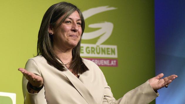 Maria Vassilakou: Mit 94,3 Prozent erneut Spitzenkandidatin der Wiener Grünen (Bild: APA/HANS PUNZ)