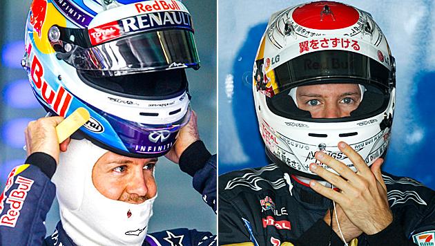 Zweimal Sebastian Vettel – zweimal unterschiedliches Helmdesign (Bild: APA/EPA/DIEGO AZUBEL, DIEGO AZUBEL/EPA/picturedesk.com)