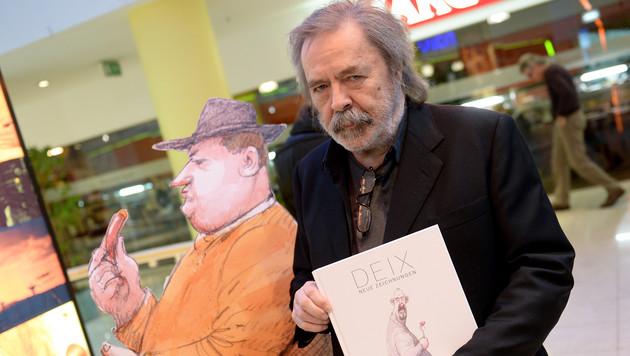 Die Signierstunde in Wien war einer der ersten öffentlichen Auftritte nach Deix' Zusammenbruch (Bild: APA/Roland Schlager)