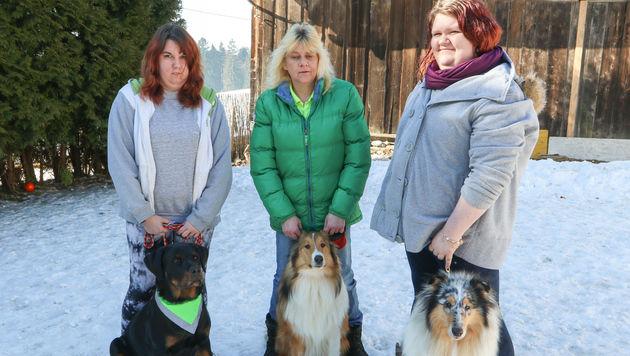 Carina, Monika und Selina Rachbauer mit drei ihrer Hunde (Bild: Daniel Scharinger)