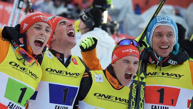 So jubeten die deutschen Champions (Bild: APA/EPA/BARBARA GINDL)
