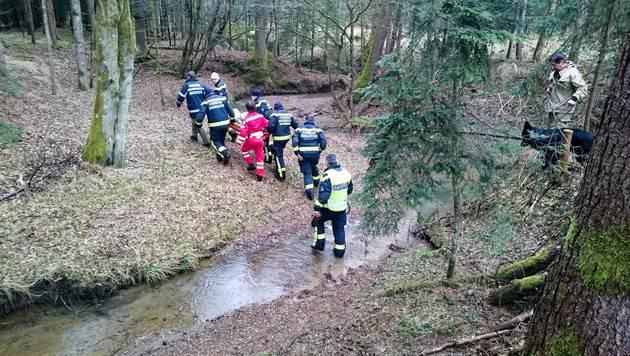 Mit einer Krobtrage wurde der Mann aus dem Wald getragen. (Bild: Feuerwehr Mooskirchen)