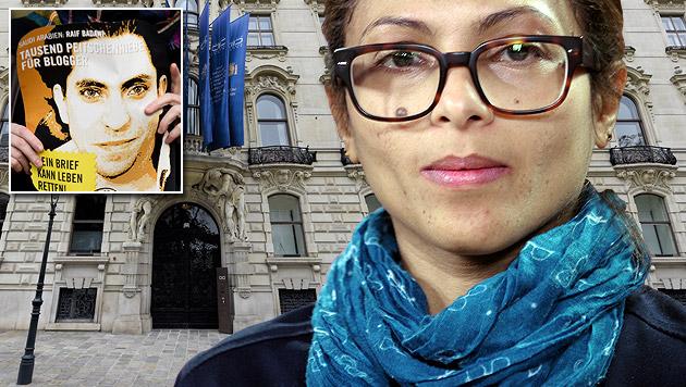 Raif Badawis Frau Ensaf Haidar will die Schließung des König-Abdullah-Dialogzentrums erreichen. (Bild: AFP, APA/HERBERT NEUBAUER)