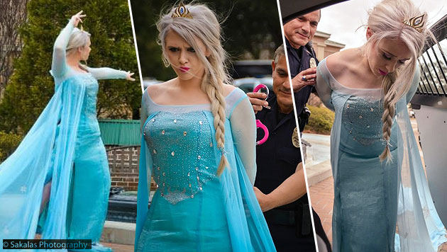 Kriminell kalt: Eiskönigin Elsa in USA verhaftet (Bild: facebook.com/Sakalas Photography)