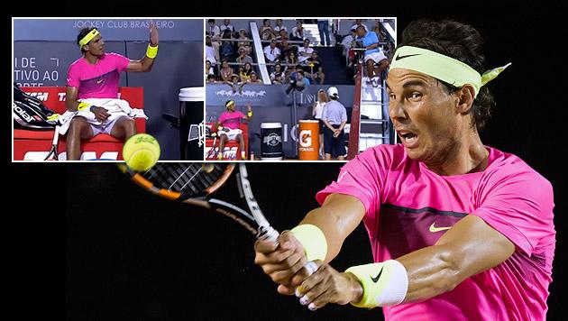 Nadal rastet aus und beschwert sich über Referee (Bild: AP, YouTube.com)