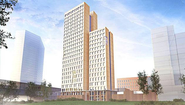 Künstlerische Darstellung des geplanten Holzhochhauses in Aspern (Bild: OLN OFFICE LE NOMADE)