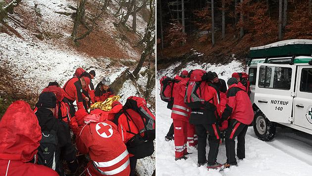 Retter trugen Verletzte drei Kilometer bis ins Tal (Bild: Bergrettung)