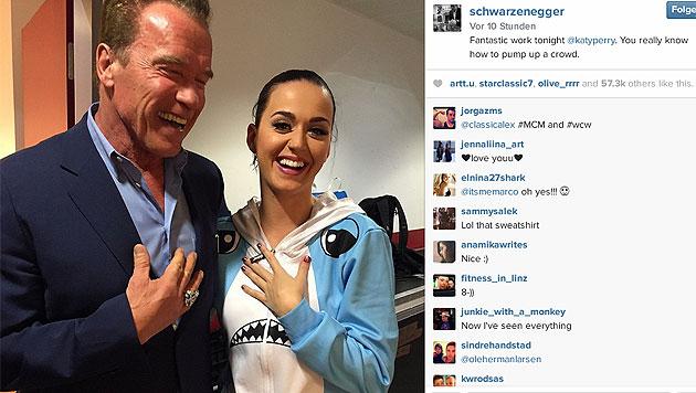 """""""Fantastischer Job, heute! Du weißt wirklich, wie man die Leute zum Pulsieren bring!"""", so Arnie. (Bild: instagram.com/schwarzenegger)"""
