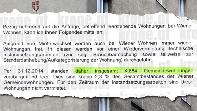 """Gemeindebau-Streit: """"4.880 Wohnungen stehen leer"""" (Bild: APA/HELMUT FOHRINGER, Kronen Zeitung)"""