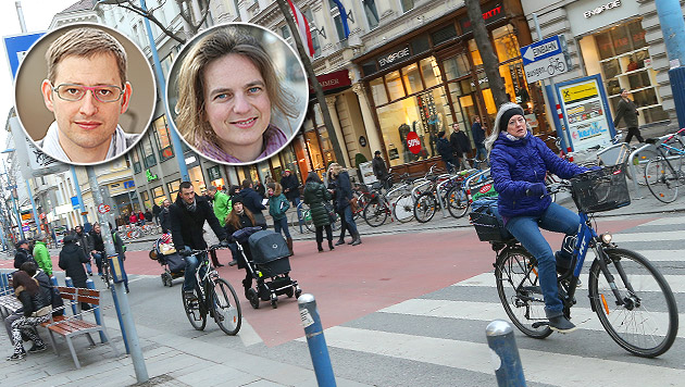 Radfahr-Beauftragter Blum und Fußgeher-Beauftragte Petra Jens sind beide in der Mobilitätsagentur. (Bild: Peter Tomschi , Martin A. Jöchl)