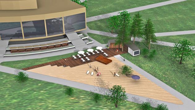 Auf einer Fläche von 1100 Quadratmetern wird vor dem Brucknerhaus Sand aufgeschüttet. (Bild: any:time architekten)