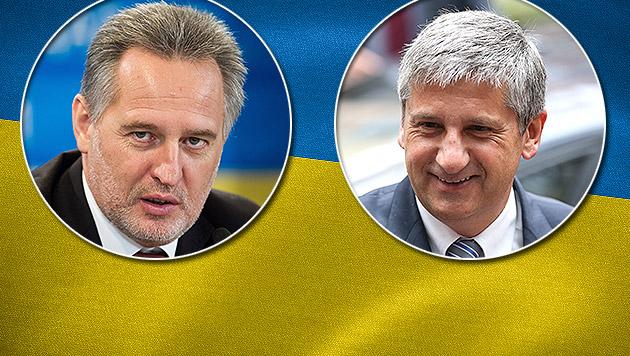 """Spindelegger und Firtasch als """"Retter der Ukraine"""" (Bild: APA/EPA/INNA SIKOLOVSKAYA, APA/EPA/JULIEN WARNAND)"""