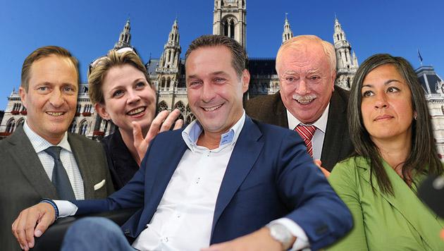 Kampf ums Wiener Rathaus: Meinl-Reisinger, Häupl, Juraczka, Strache, Vassilakou (v. l.) (Bild: Peter Tomschi, APA/Herbert Pfarrhofer, Zwefo)