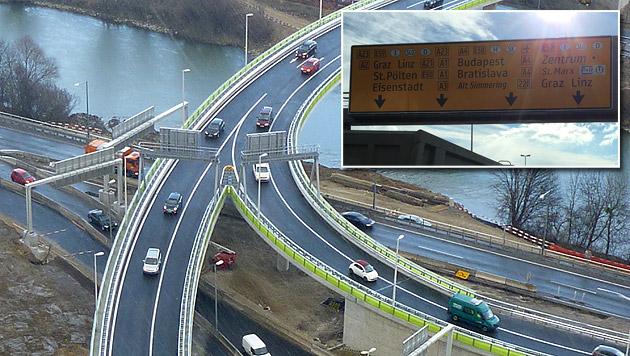 Neue Spurführung auf A23 führte zu Verkehrschaos (Bild: Asfinag)