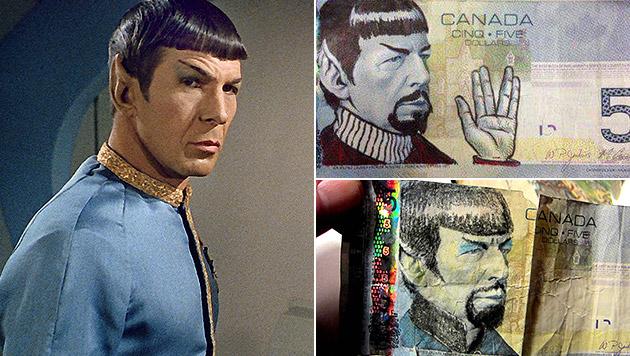 So verewigen Kanadier Mr. Spock auf Geldscheinen (Bild: CBS, AP, Twitter.com)