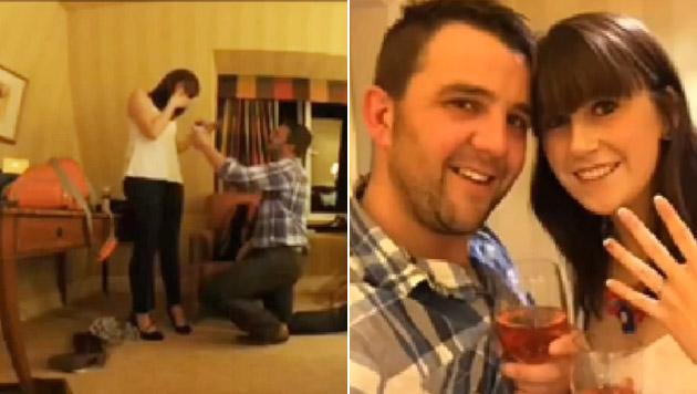 Hier hält Brite mit Bagger um Hand von Freundin an (Bild: YouTube.com)