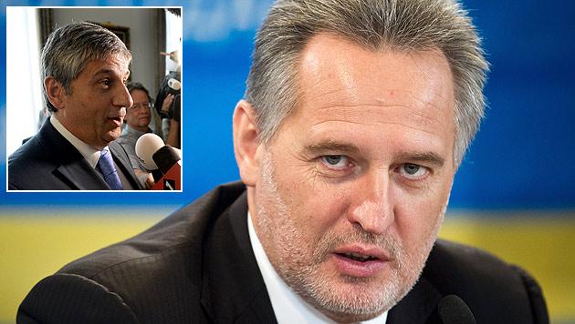 Ist Michael Spindelegger etwa auf einen PR-Trick des Oligarchen Dmytro Firtasch hereingefallen? (Bild: APA/EPA/INNA SIKOLOVSKAYA, APA/HELMUT FOHRINGER)