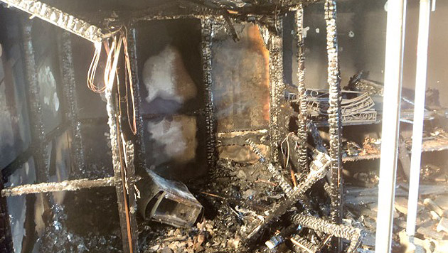 Der Keller wurde beim Feuer völlig zerstört. (Bild: Feuerwehr Hitzendorf)