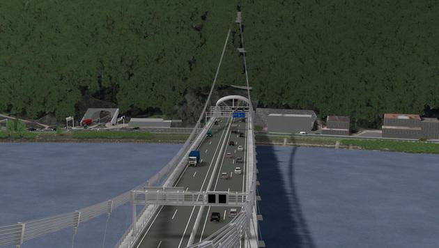 Baustart für die Donaubrücke des Westrings ist im Sommer. 2018 soll sie fertig sein. (Bild: Asfinag)