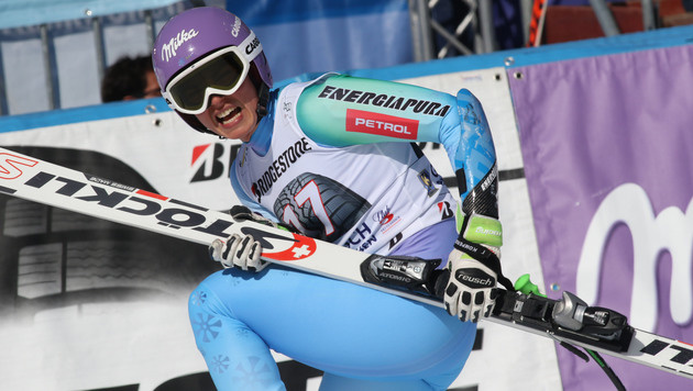 Fenninger in Garmisch hinter Vonn und Maze Dritte (Bild: AP)