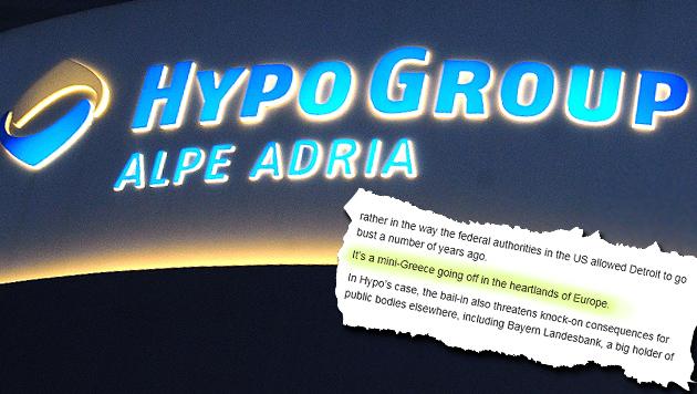 """Hypo-Debakel: �sterreich als """"Mini-Griechenland"""" (Bild: APA/Barbara Gindl, """"The Telegraph"""")"""