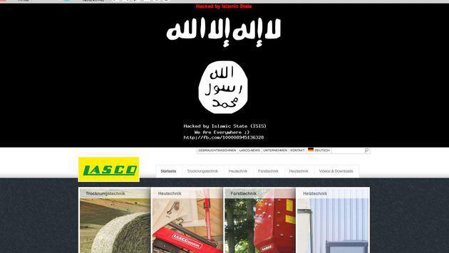"""Die Webseite am Sonntag: """"Hacked by Islamic State (ISIS)"""" steht unter den Schriftzeichen. (Bild: Screenshot)"""