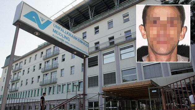 Das Kopfschuss-Opfer des mutmaßlichen Täters Zarko J. (kl. Bild) türmte aus dem Spital in Meidling. (Bild: Andi Schiel, Justiz)