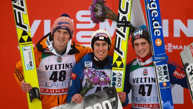Stefan Kraft feiert dritten Weltcupsieg in Lahti (Bild: GEPA)
