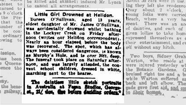 Ein Zeitungsbericht zum tragischen Tod von Doreen O'Sullivan im Jahr 1915 (Bild: Screenshot trove.nla.gov.au)