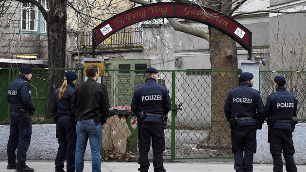 Aktivisten besetzten leer stehendes Haus in Wien (Bild: APA/HELMUT FOHRINGER)