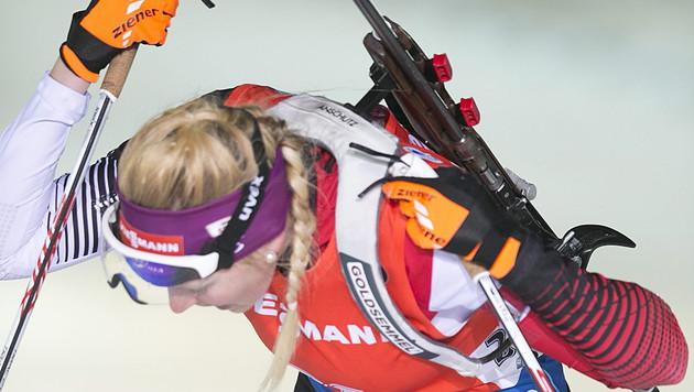 Österreichs Biathlon-Damen bei der WM auf Rang elf (Bild: APA/EPA/MAURI RATILAINEN)
