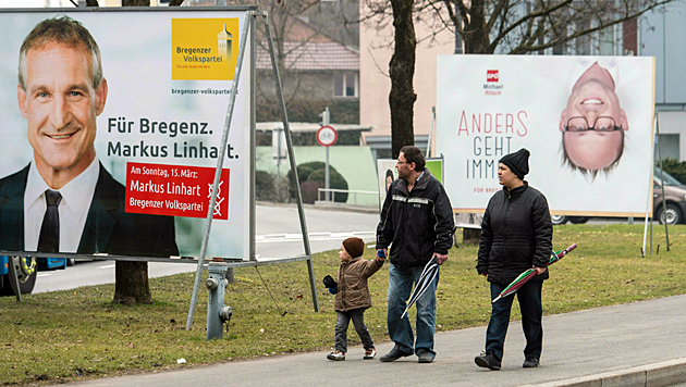 Wahltag in Vorarlberg: Die ÖVP fuhr insgesamt Verluste ein. (Bild: APA/Dietmar Stiplovsek)