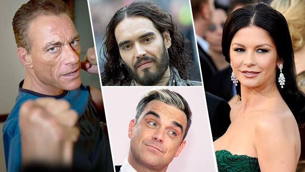 Van Damme, Brand, Williams und Zeta-Jones stehen zu ihrer Erkrankung. (Bild: AP, AFP, APA/EPA/MICHAEL KAPPELER, APA/EPA/MIKE NELSON)
