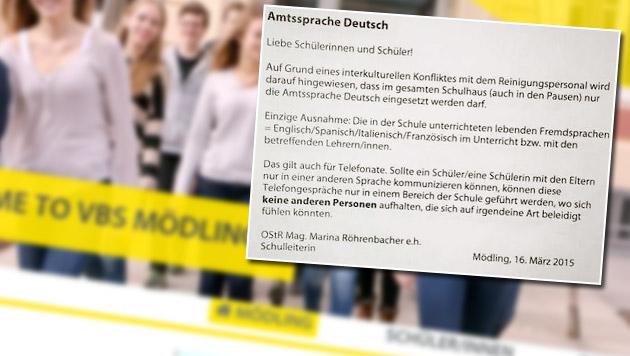 """Schule gestattet nur noch """"Amtssprache Deutsch"""" (Bild: Screenshot Facebook, Screenshot moedling.vbs.ac.at)"""