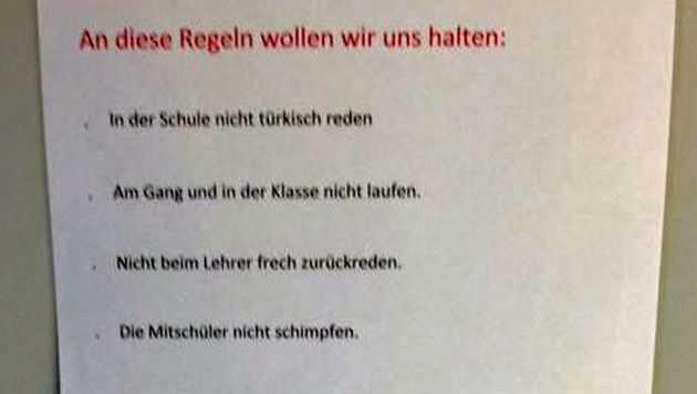 """In einer Neuen Mittelschule in Wien soll dieses """"Regelwerk"""" ausgehängt sein. (Bild: Screenshot Facebook)"""