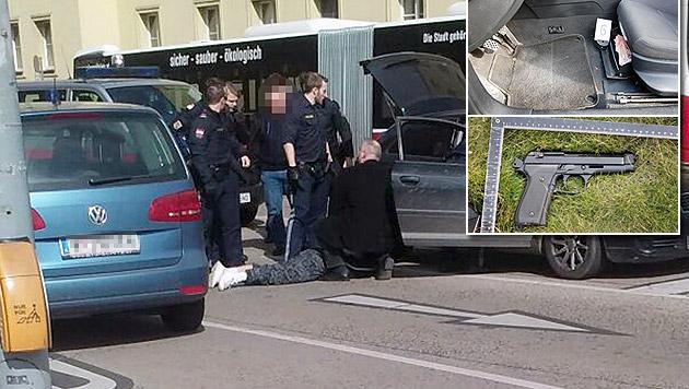 Spektakuläre Festnahme nach Raubüberfall in Wien (Bild: LPD Wien, Leserreporter Gabriel Skopljakovic)