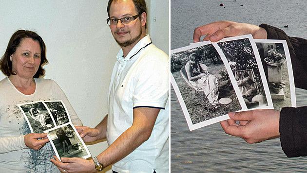 Fotograf Wolfgang Kühn mit jener Frau, die auf  einem der alten Bilder abgebildet ist. (Bild: APA/KATHARINA GRUBER)